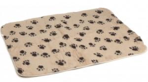 Vetbed Beige Met Pootjesprint voor honden Medium