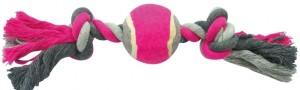 Dogtoy Knoop katoen 2 knoop tennisbal Grijs/roze