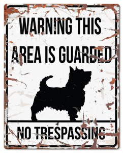 D D Waarschuwingsbord Square Terrier (wit)