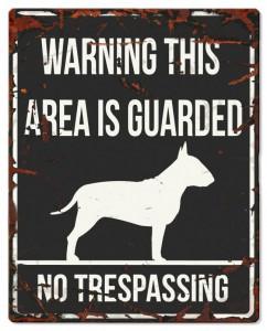 D&D - Waarschuwingsbord Square Bull Terrier (zwart)