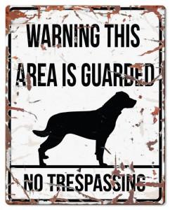 D&D - Waarschuwingsbord Square Rottweiler (wit)