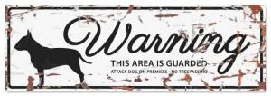 D&D - Waarschuwingsbord Bull Terrier (wit)