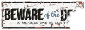 D&D - Waarschuwingsbord Beware of the Dog (wit/blauw)
