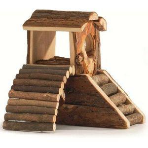 Hamsterhuis met loopbrug 17cm