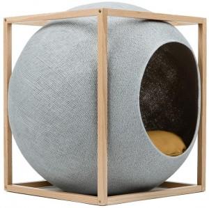 Meyou - Cube met hout Lichtgrijs