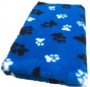 Vetbed - Kobaltblauw met Zwarte en Witte Voetprint Antislip