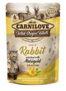 Carnilove - Pouch Konijn verrijkt met Goudsbloem, Kitten