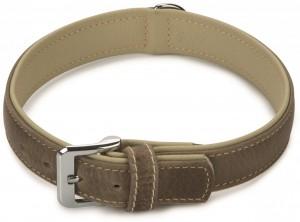 Beeztees - Leren Halsband Comfort Grijs